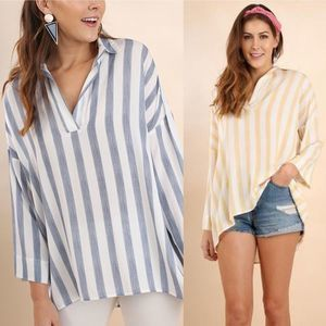 Umgee Striped Collared V Neck Tunic in Blue NWT